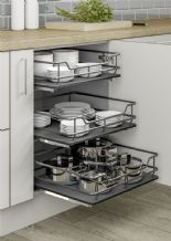 INDIVIDUAL PULL-OUT ORGANISER BASKET (Innostor Plus) in 5 cabinet widths  - DARK GREY (ECF IP3IP***)
